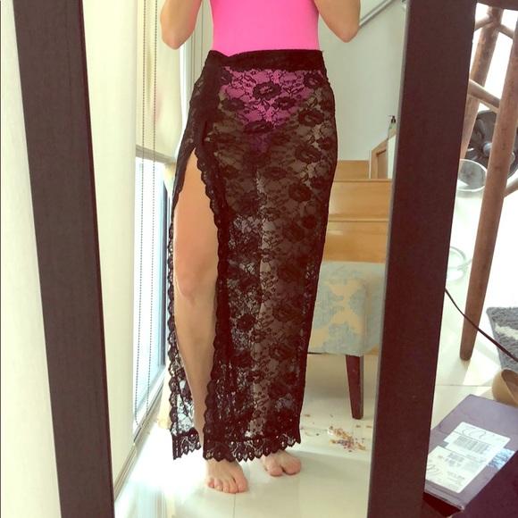 Free People sz xs black lace swimsuit coverup